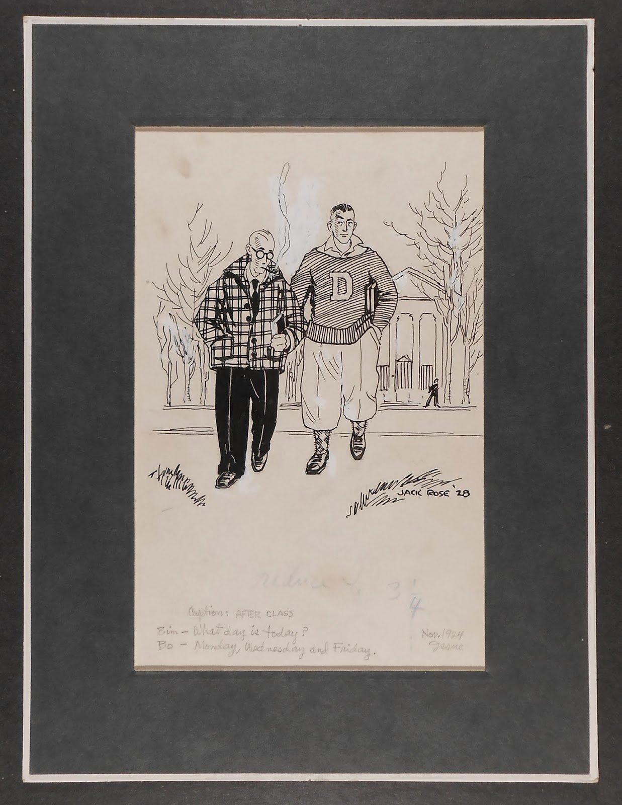 A cartoon of a smoking man walking outdoors with a second man in a Dartmouth sweater.