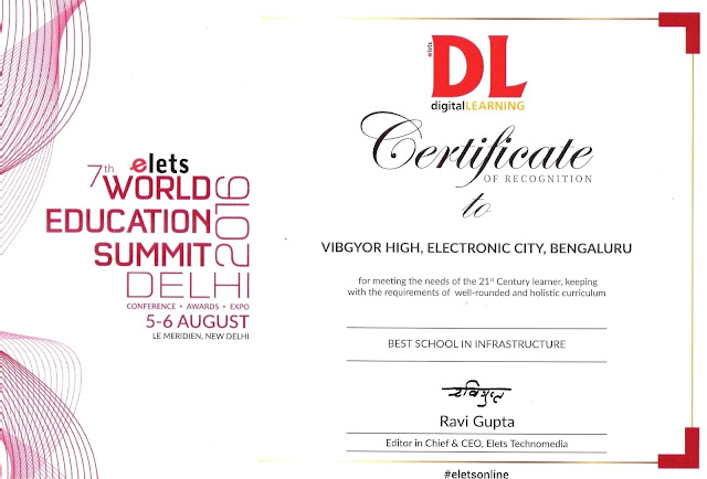 VIBGYOR High School, Electronic City recognised at World Education Summit 2016