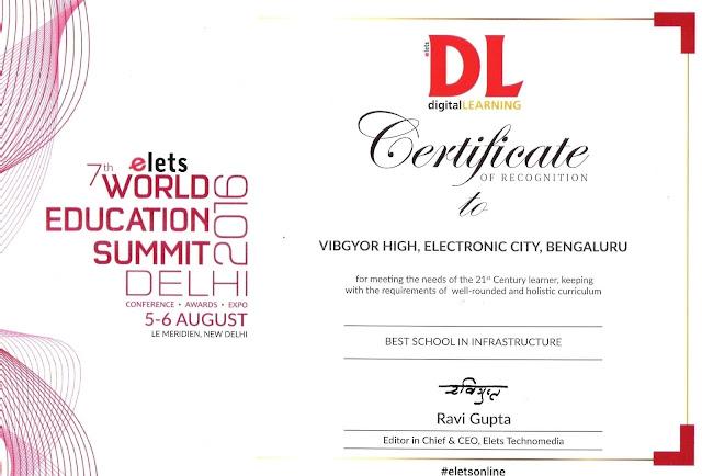 VIBGYOR High School, Electronic City recognised at World Education Summit 2016