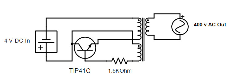 simplest dc to ac inverter circuit using 2 phase primary 1 phase secondary  mini step-up transformer powered by tip41c npn transistor