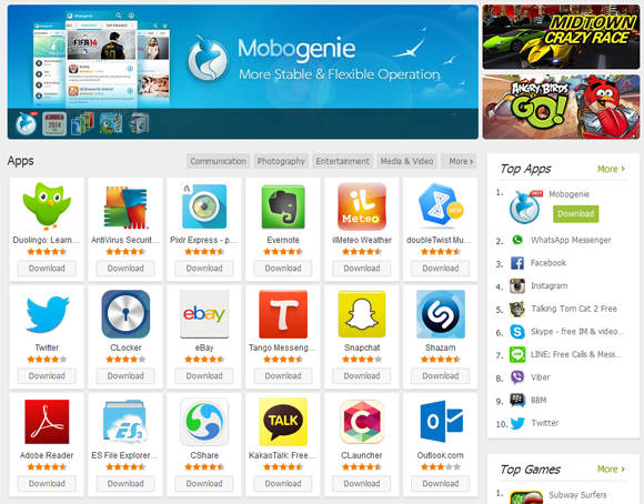 Mobogenie:logiciels android gratuits