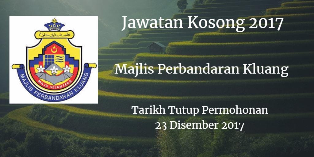Jawatan Kosong MPKluang 23 Disember 2017