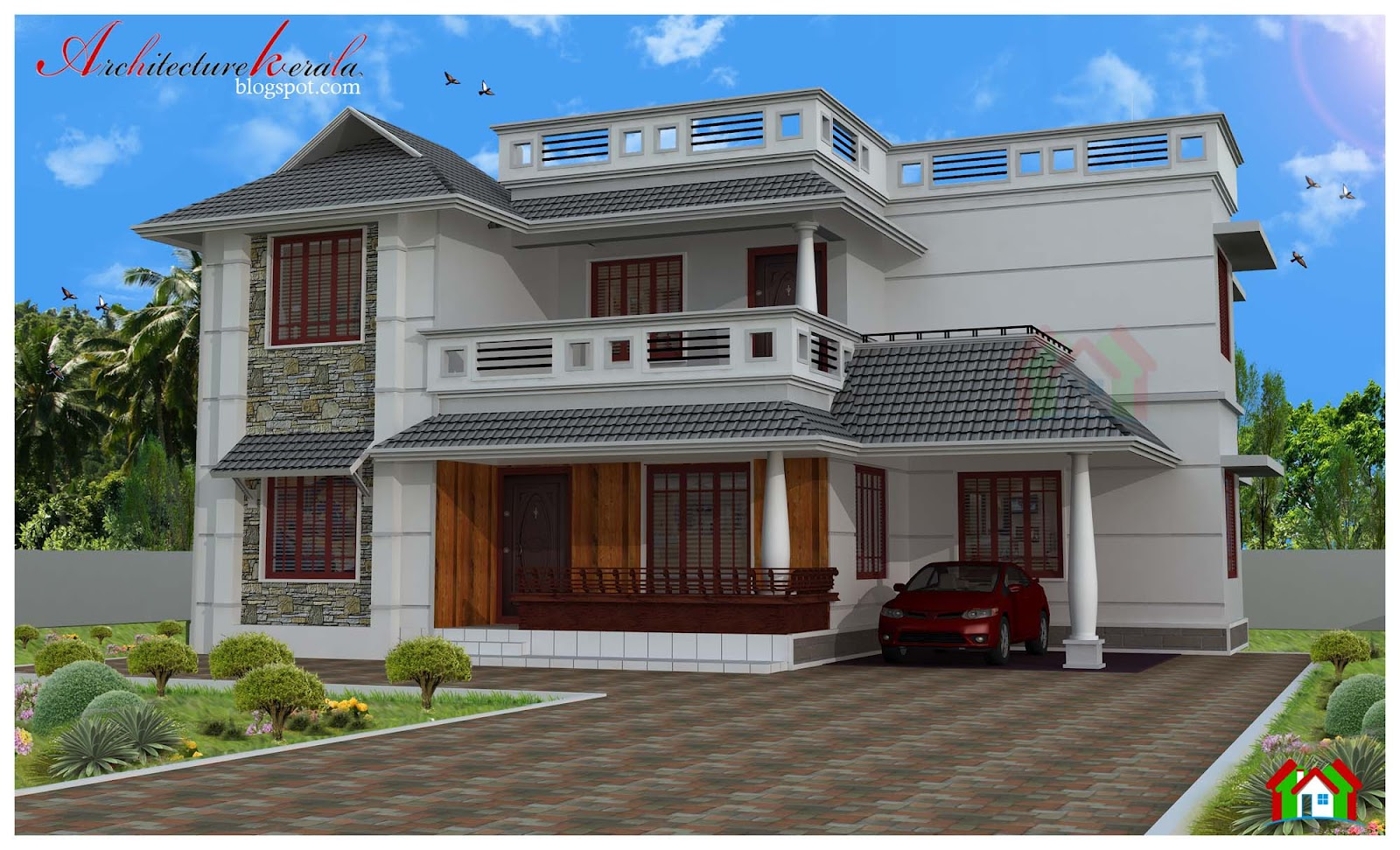 Architecture kerala four bed room house plan for Veedu elevation