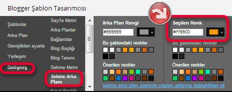 Blogger şablonda arka plan renk değişimi