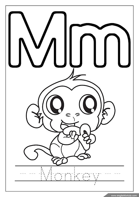 Letter m coloring, monkey coloring, alphabet coloring page