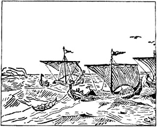Sigve the Awful sails with Harald Greycloak to Denmark in The Viking War by John Snow