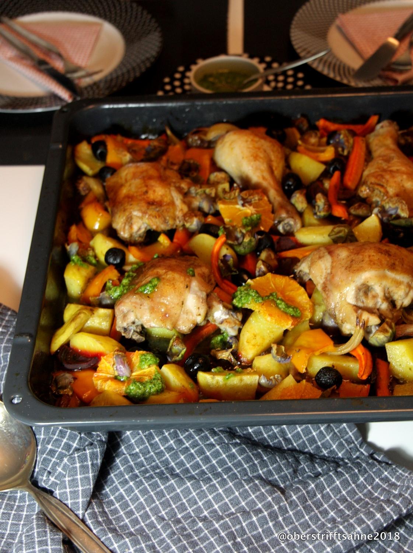 Bunte Winterküche Aus Dem Ofen Huhn Mit Gemüse