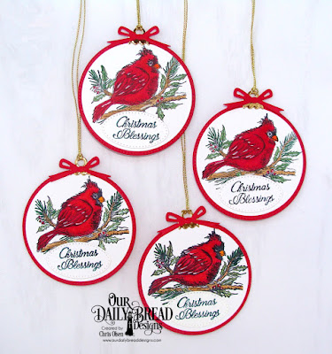 Our Daily Bread Designs Stamp Set: Winter Cardinal, Custom Dies: Circles, Pierced Circles, Circle Ornaments, Pierced Ovals