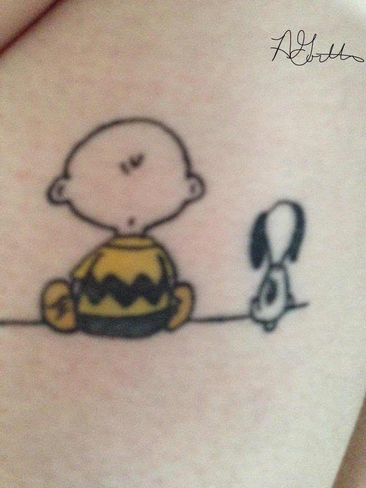 Charlie Brown and Snoopy Tattoo