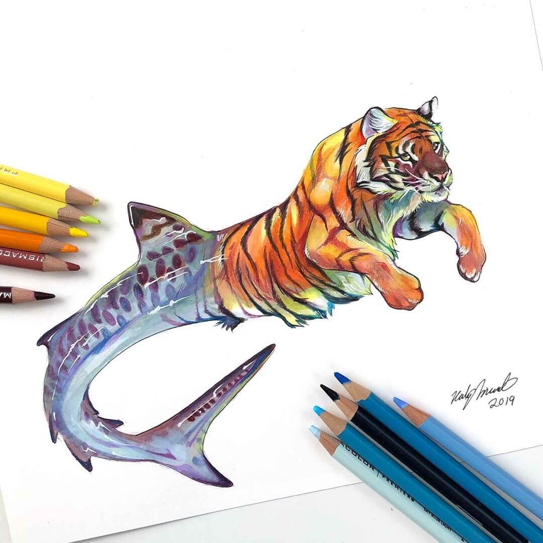 06-Tiger-Shark-Animal-Drawings-Fantasy-Wolds-www-designstack-co