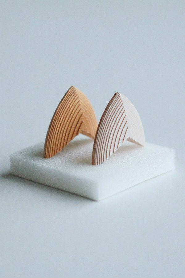modern layered paper earrings