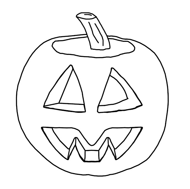 A simply jack-o-lantern for kids to colour.