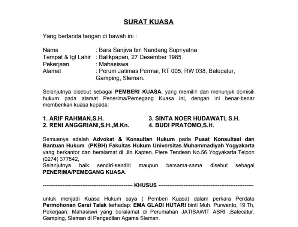 Contoh Surat Kuasa Mediasi Di Pengadilan Agama Download Kumpulan Gambar
