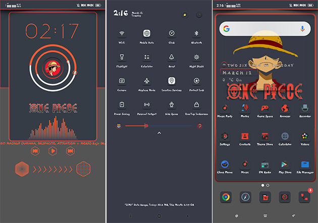 Oppo Theme: Oppo A3s Dark Luffy Theme
