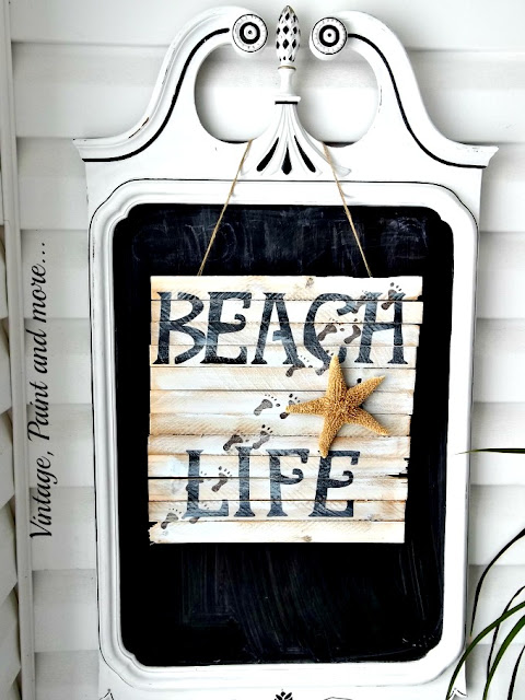 Vintage, Paint and more... stenciled beach sign on shims hanging on a vintage mirror painted chalkboard