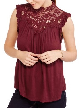Walmart No Boundaries Juniors' Sleeveless Victorian Top