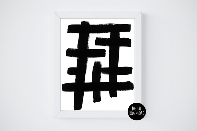 abstract black and white acrylic painting // 8x10 // printable digital download