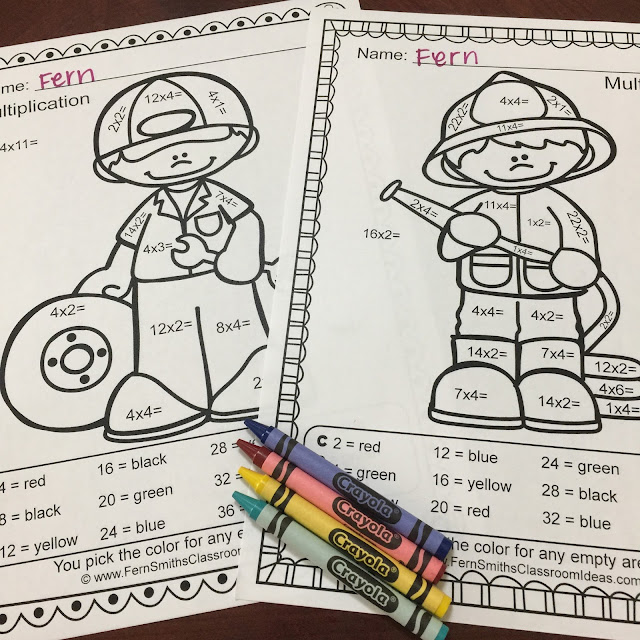 An Entire New Line of Color By Numbers to Match Your Careers or Community Helper Units, Addition, Subtraction, Multiplication and Division. By Fern Smith's Classroom Ideas