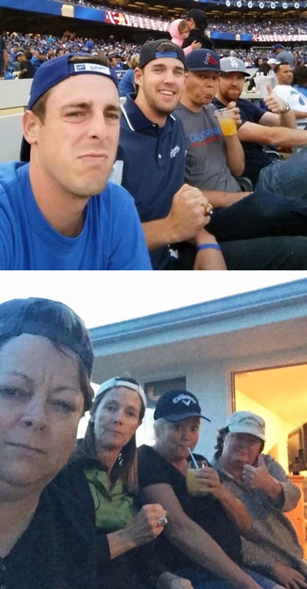 40 Photos Of The Most Hilarious Parents You Will Ever Meet - Our Moms Mocked Our Selfie At The Dodger Game