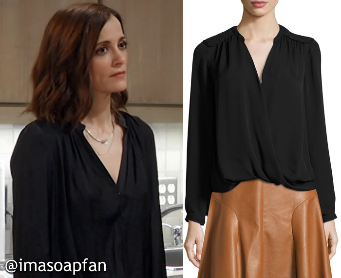 Hayden Barnes, Rebecca Budig, Black Wrap-Front Silk Blouse, Rebecca Taylor, GH, General Hospital