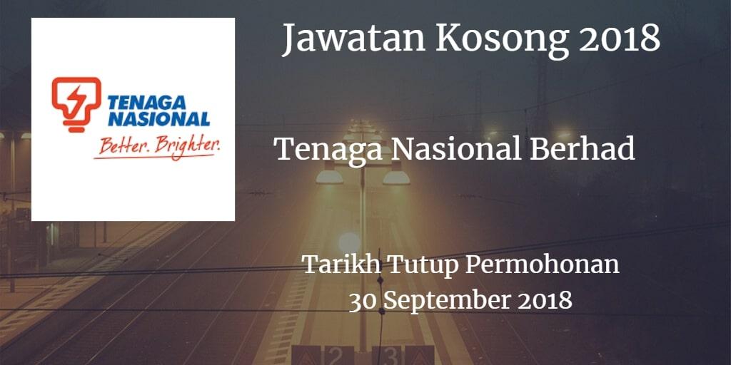 Jawatan Kosong Tenaga Nasional Berhad 30 September 2018