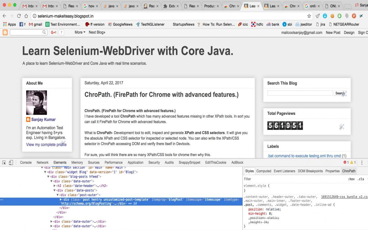 Learn Selenium-WebDriver with Core Java  : ChroPath