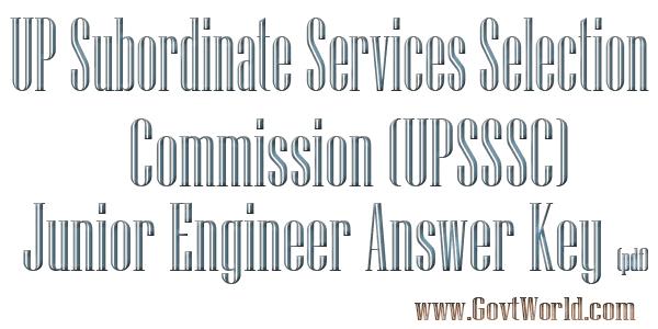 UPSSSC Junior Engineer Answer Key 2016