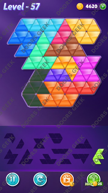 Block! Triangle Puzzle Grandmaster Level 57 Solution, Cheats, Walkthrough for Android, iPhone, iPad and iPod