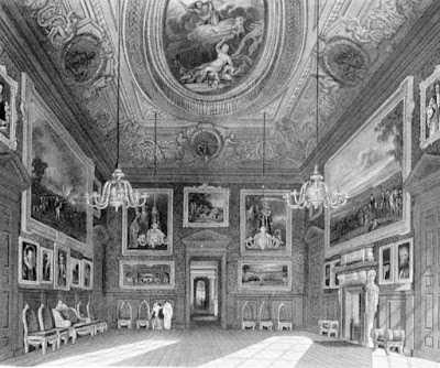 The King's Drawing Room, Kensington Palace, from The History  of the Royal Residences by WH Pyne (1819)