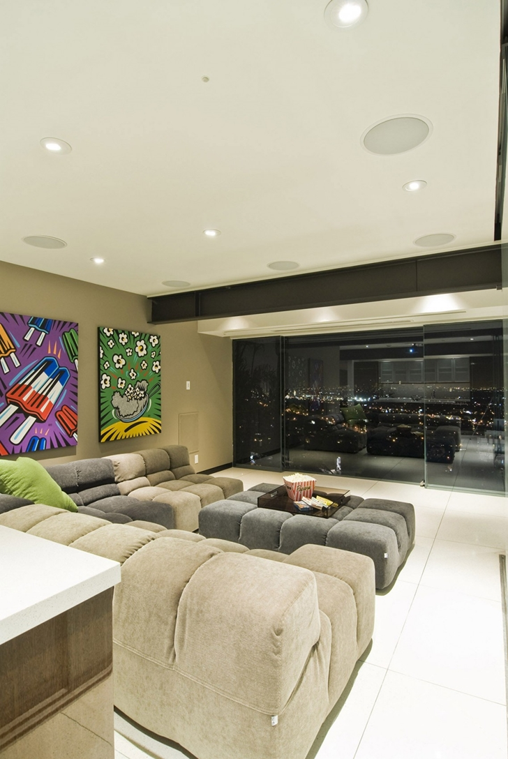 Massive couch in Hollywood Mansion by Whipple Russell Architects