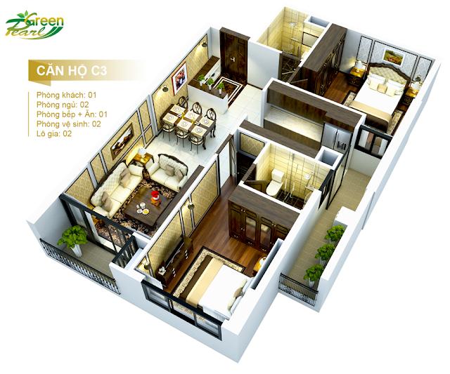 Mặt bằng căn hộ C3 chung cư Green Pearl Minh Khai