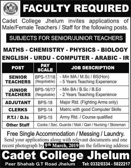 Jobs in Cadet College Jhehlum for Teachers & Others