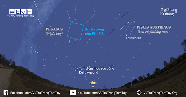 [Ftvh] Tâm điểm của mưa sao băng Delta Aquarid nằm bên dưới hình vuông lớn của chòm sao Pegasus (Phi Mã), và gần ngôi sao cô đơn Fomalhaut.