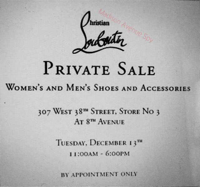 Madison Avenue Spy: Christian Louboutin Sample Sale Invites
