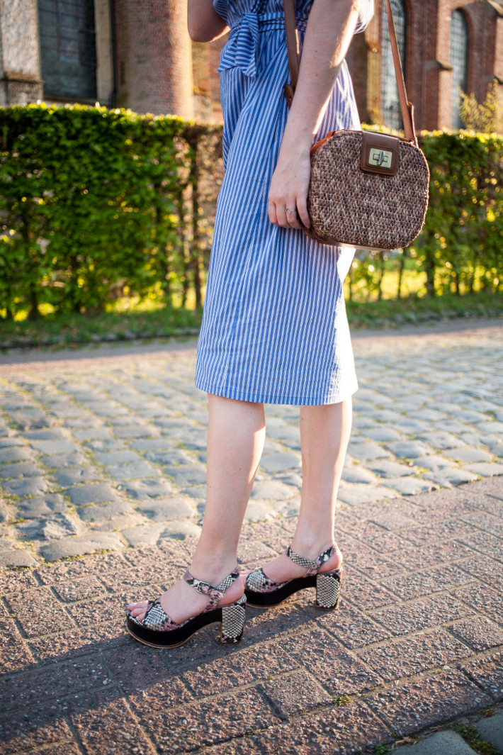 zara striped dress, Zinda platform sandals