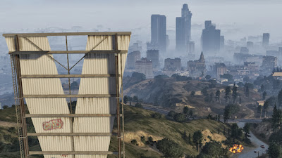 Grand Theft Auto View of Los Santos frm Vinewood sign GTA V