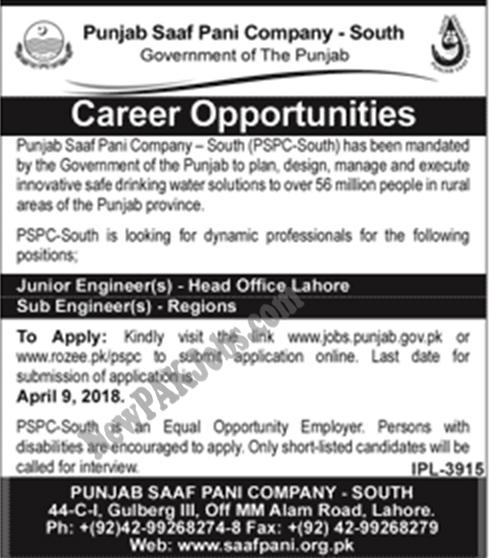 Latest New Saaf Pani Jobs in Lahore Pakistan