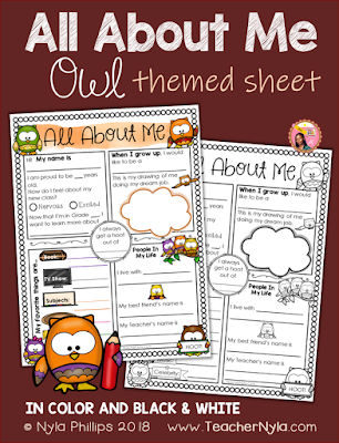 Owl Themed All About Me Writing sheet