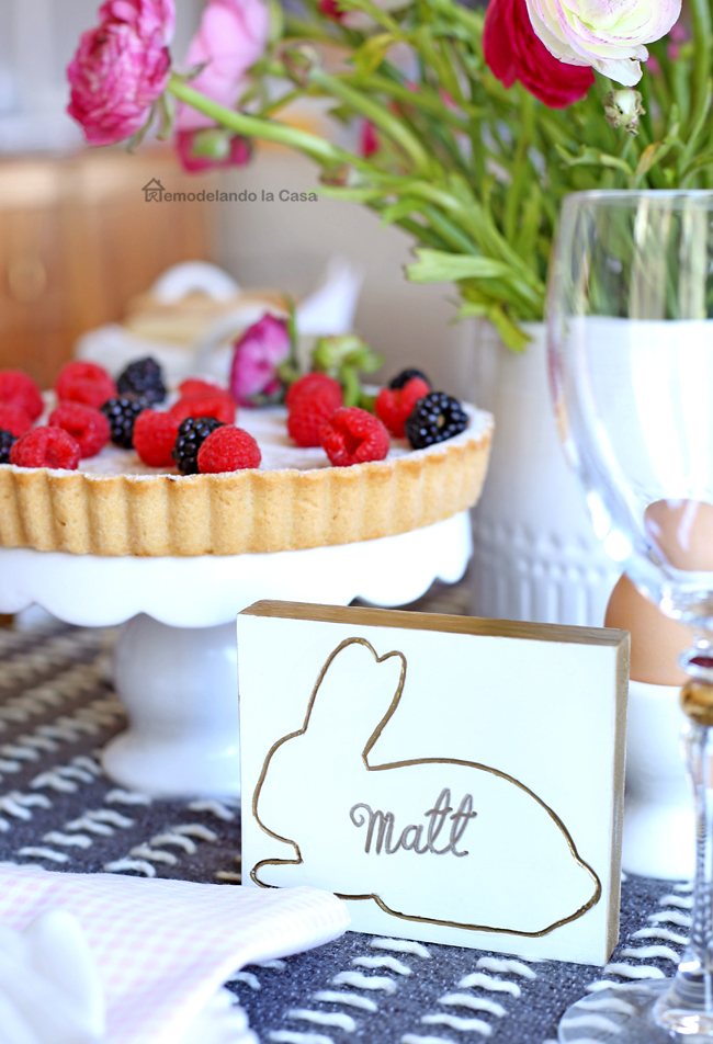 Bunny name tags on Easter table