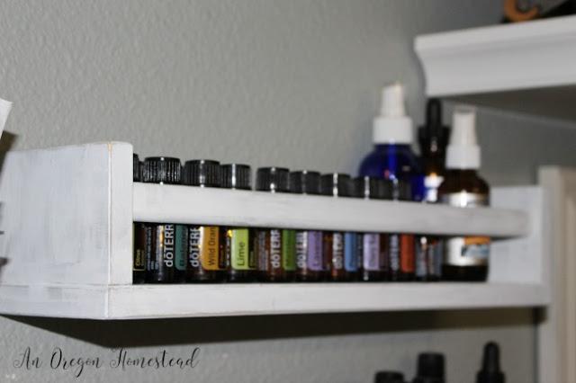 Ikea spice rack into a farmhouse style essential oil organizer