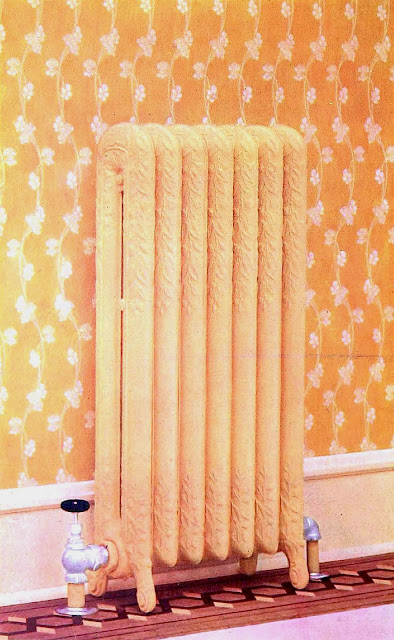 1905 home radiator from a catalog, large tinted photograph