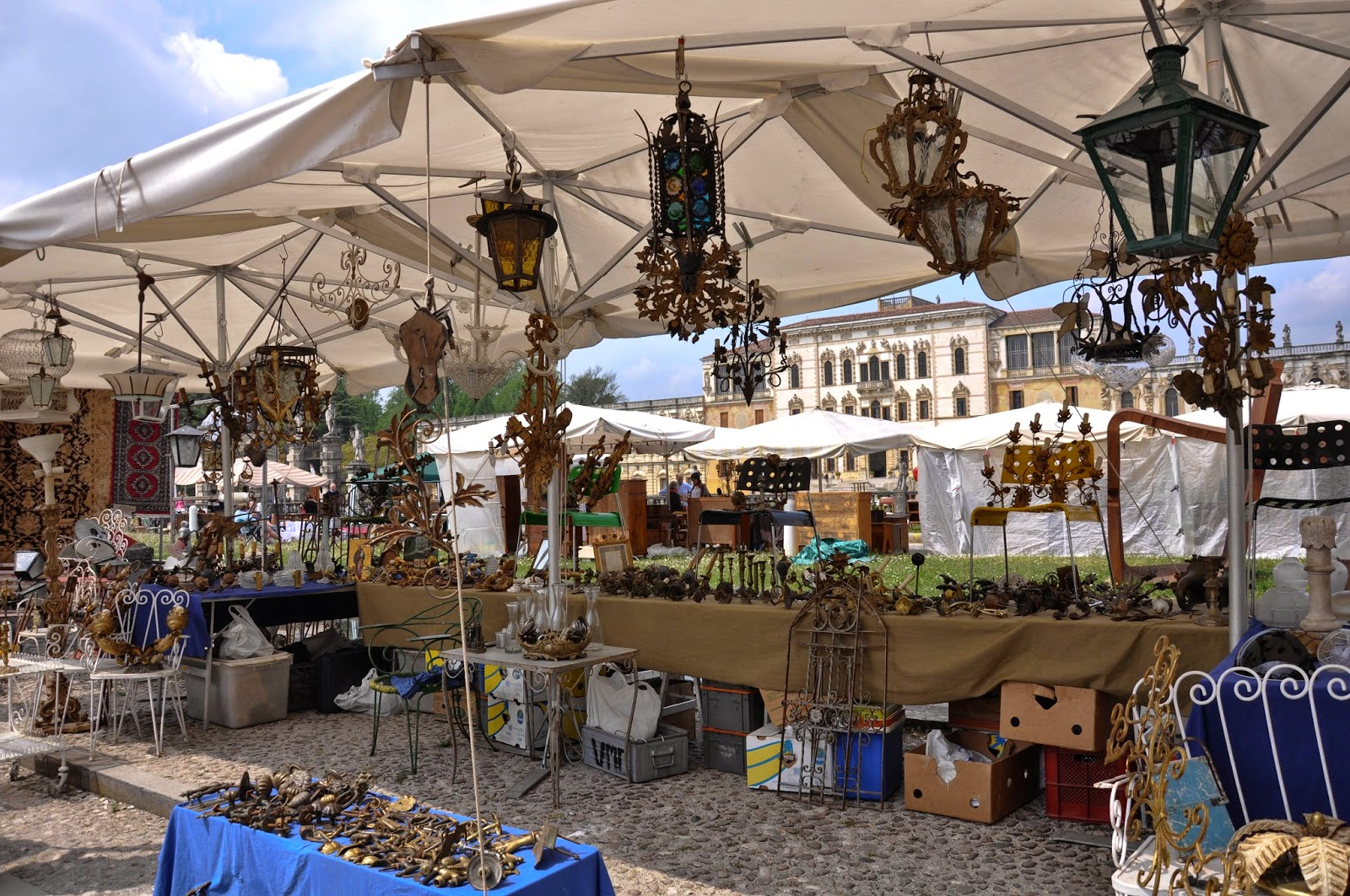 Stall with lights at the antiques market in Piazzola sul Brenta, Veneto, Italy