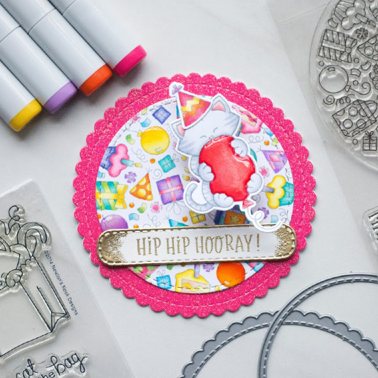 Cat Birthday Circle Card by June Guest Designer Amy Tollner | Birthday Roundabout Stamp Set, Newton's Birthday Bash Stamp Set, Circle Frames Die Set, and Banner Trio Die Set by Newton's Nook Designs #newtonsnook #handmade