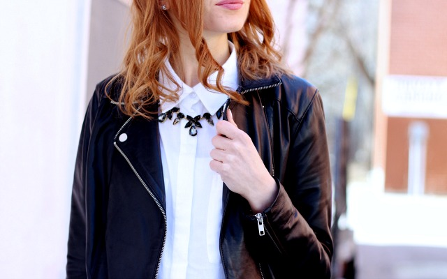 closet staples- white blouse, leather jacket, black bag