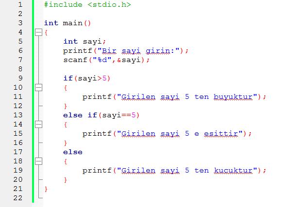 c programlama dili if else else if