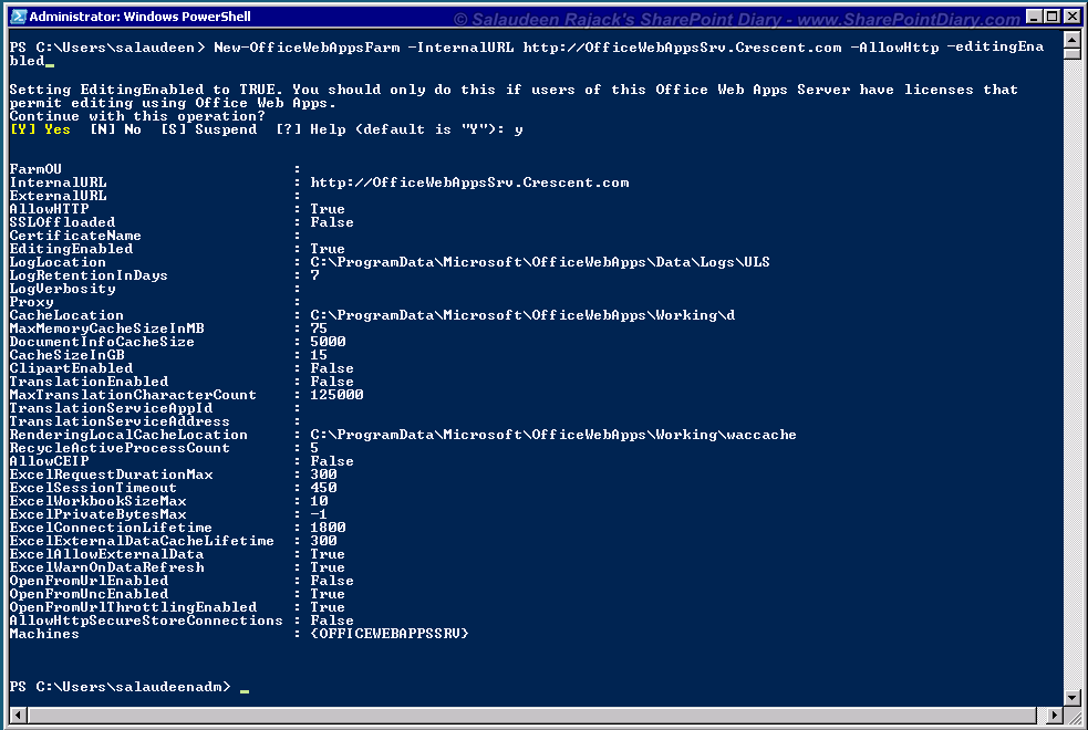 Create New office web apps 2013 Farm using powershell