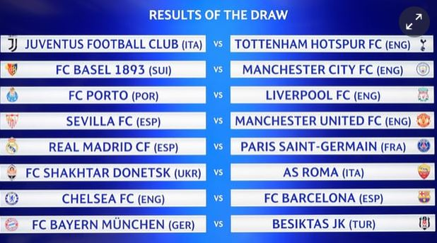 #UCLDRAW - Champions League draw: Chelsea to face Barcelona in last 16