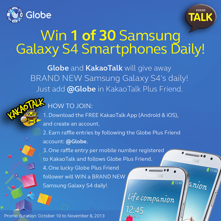 Globe and KakaoTalk will give away Samsung Galaxy S4 daily
