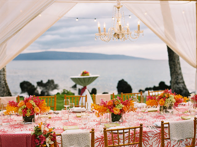 dinning table for their maui wedding at the white orchid wedding house