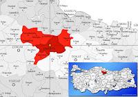 Amasya merkez ilçesinin nerede olduğunu gösteren harita